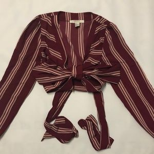 NWOT F21 - Burgundy Wrap Blouse